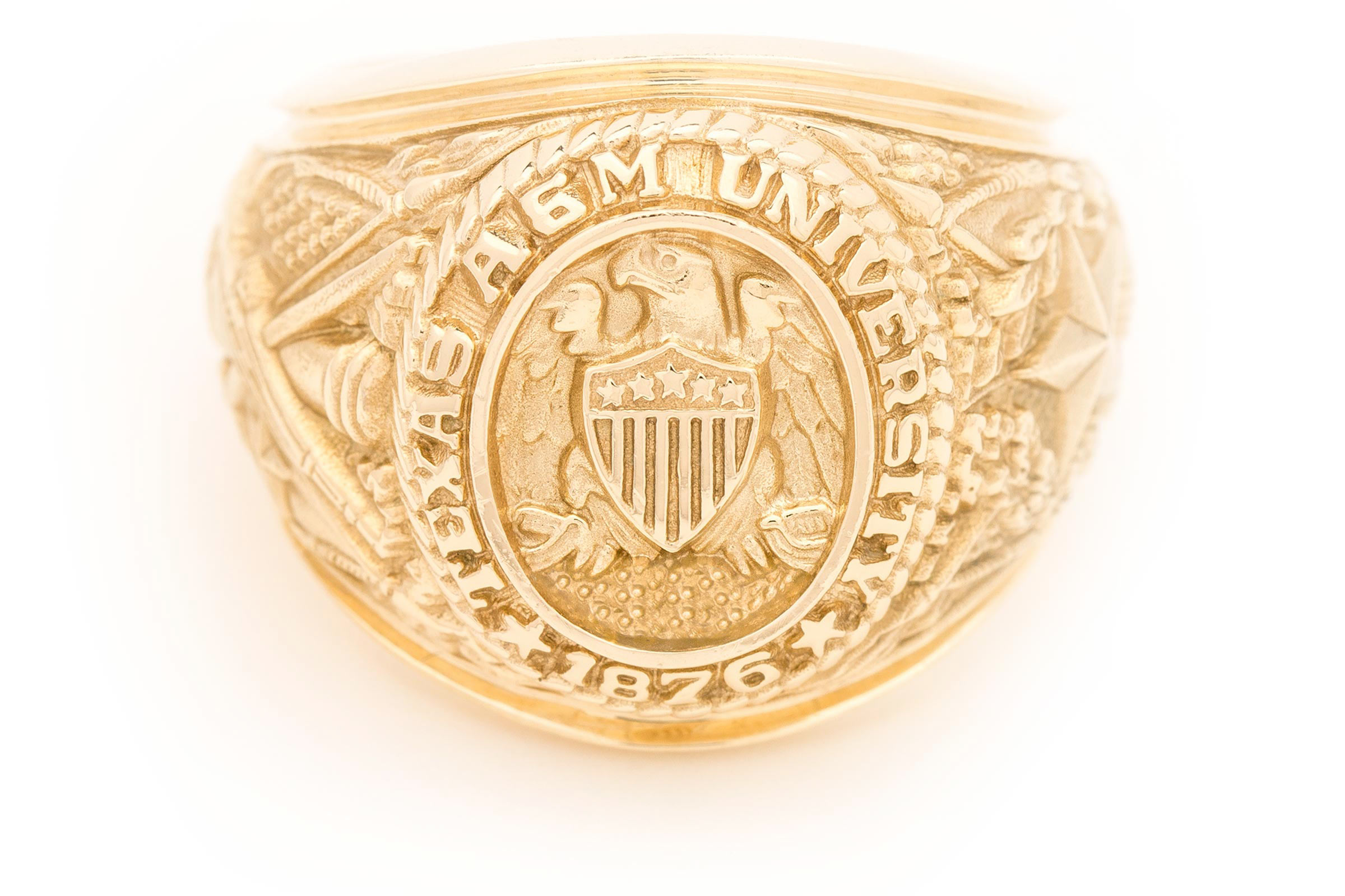 Large Aggie Ring in yellow gold with natural finish