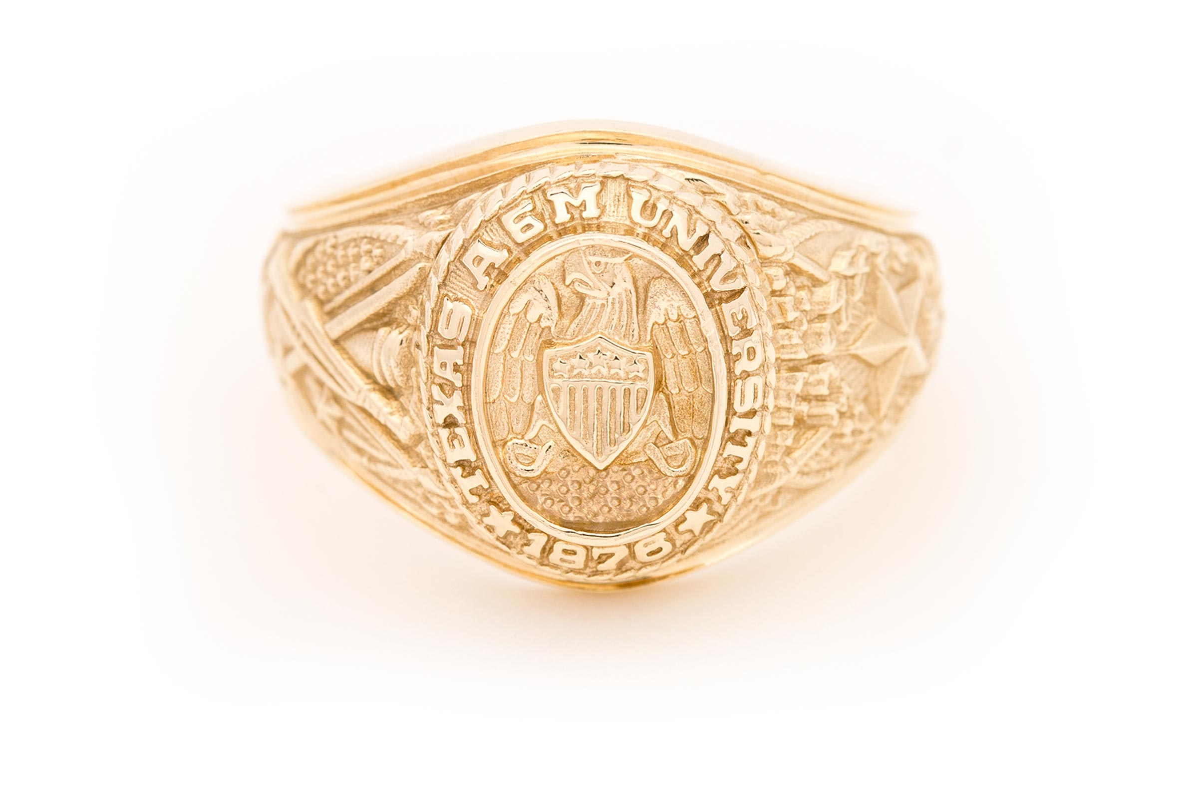 Small Aggie Ring in yellow gold with natural finish