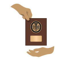 Image showing one hand giving a Century Club plaque to another hand