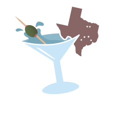 Image showing a martini glass with drink splashing out of it and the state of Texas garnish emblazoned with stars representing each of the big 6 A&M Clubs