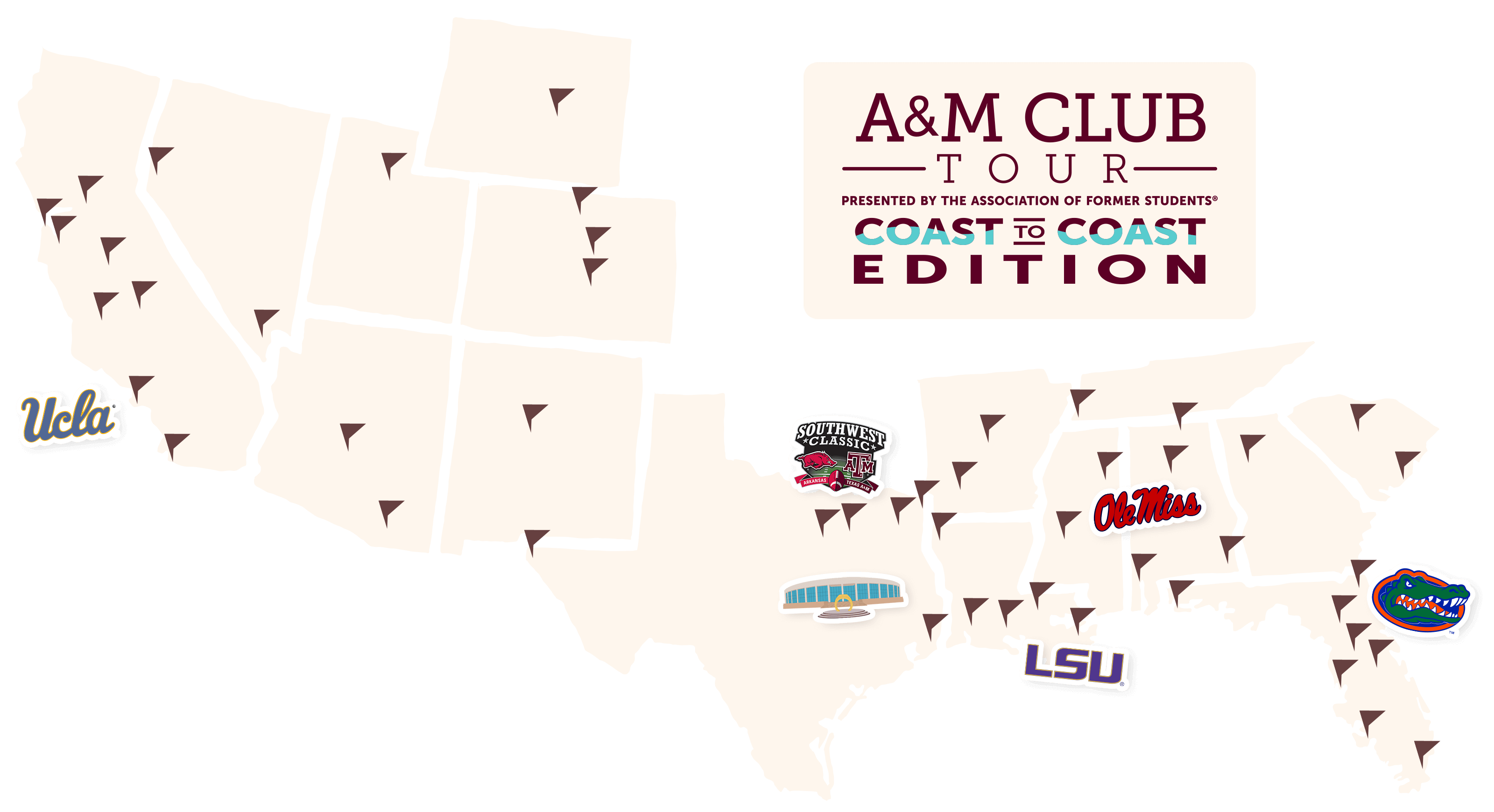 Coast to Coast A&M Club Tour Map
