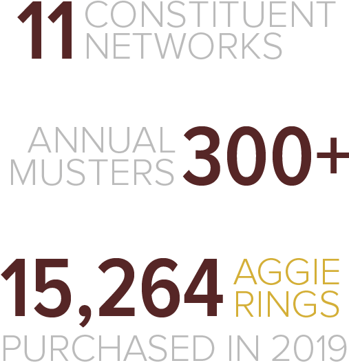 The Aggie Network has 11 constituent networks, supports over 300 annual Aggie Musters, and 12,085 Aggie Rings were purchased in 2013.