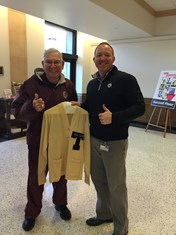Dr. Joe West '54 donated his yell leader sweater to Cushing Archives in the fall of 2015.