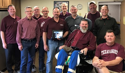 Aggie Band members from the Class of 1989 came from all over to reunite in Spokane: (from left) Rick Allen (Utah), Jeff Starr (California), Robert Wilson (Texas), Jim Owen (Vietnam), Ray Schmidt (Texas), Andrea Abat (Texas), Alan Noell (Washington), David Ward (Washington), Steve Pless (Texas), Will Nabors (Oregon), and Robert Redding (Colorado).