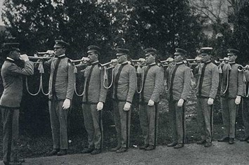 The 1912-13 Bugle Corps at Texas A&M. Joseph Louis Smith, Class of 1915, who died in World War I, was a member of this unit.