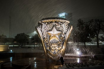 This photo was taken during the Dec. 7, 2017, snowfall in Aggieland by The Association's Tim Whaling '19.