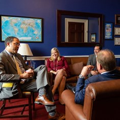Rep. Will Hurd '99 talks with Association and Texas A&M representatives during Aggies on the Hill in Washington, D.C.