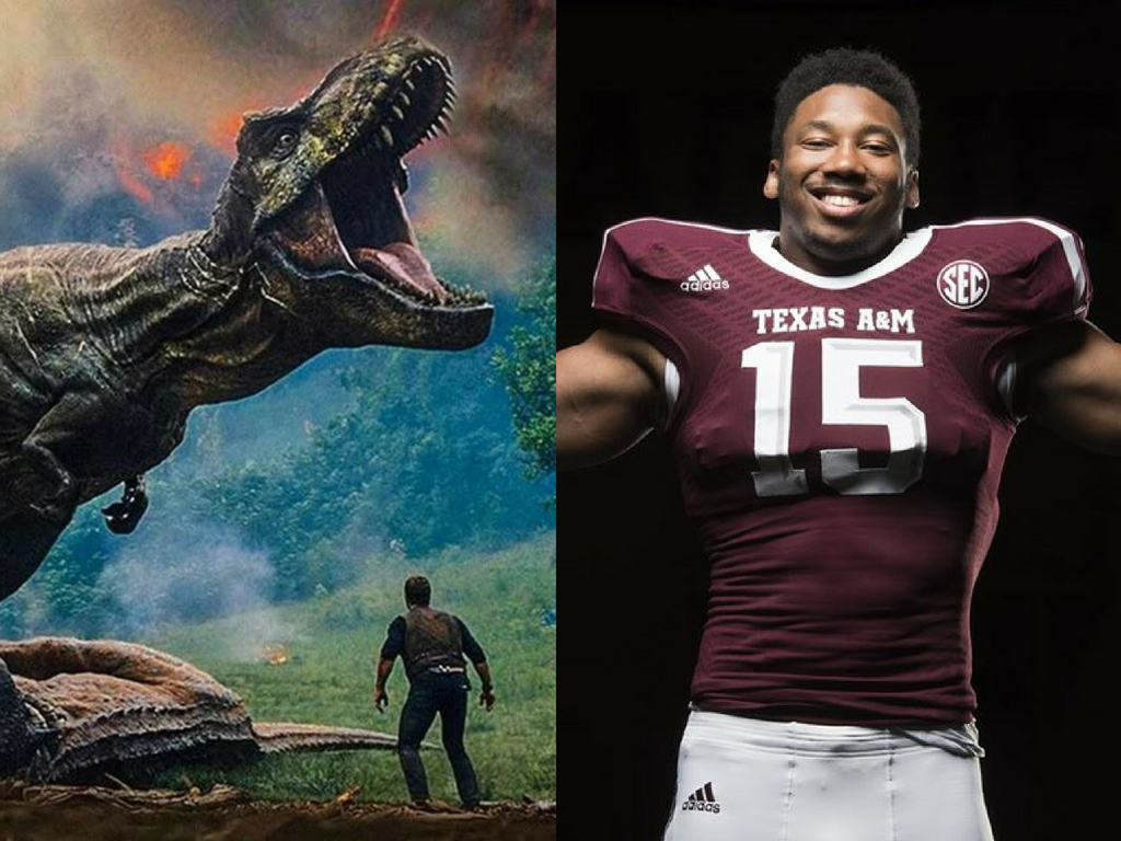 Myles Garrett '18 Hosts 'Jurassic World' In Aggieland
