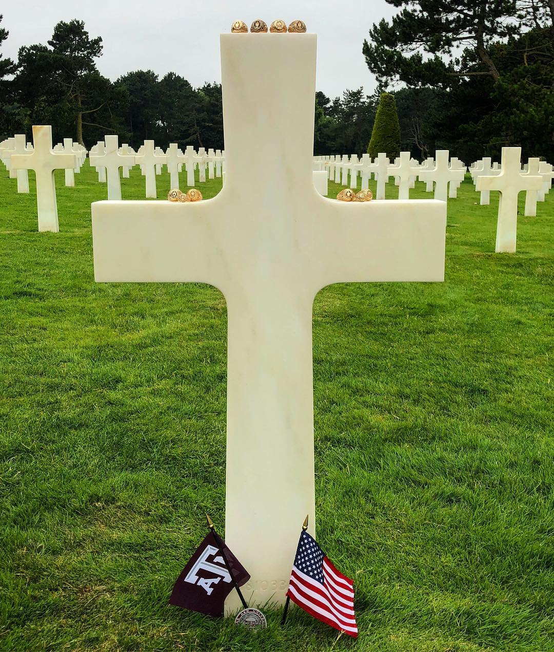 A&M President, Traveling Aggies Visit Aggie Fallen In Normandy