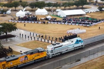 "The special ""4141"" train carrying President George H.W. Bush's casket slow to a halt at Texas A&M on Dec. 6, 2018. Photo by Gabriel Chmielewski '06 for Texas A&M University."