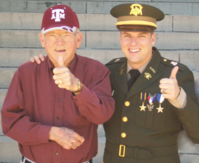 After losing his Aggie Ring in Germany and miraculously getting it back, Duane A. Strother '50 rarely removed it again. In 2013, Strother presented his grandson, Callan Duane Christensen '13, with his own Aggie Ring.