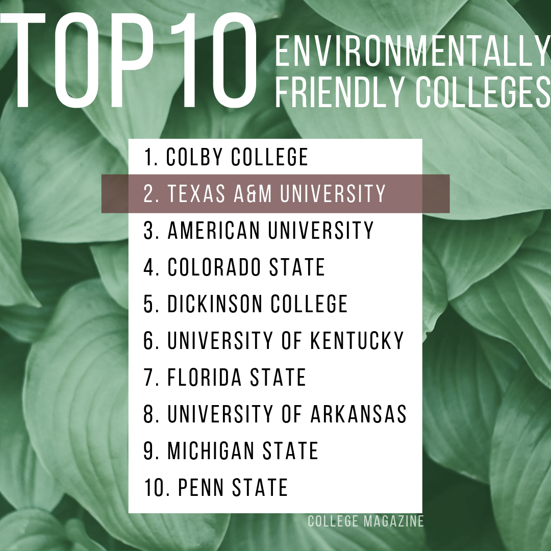 A&M Named No. 2 Eco-Friendly College In U.S.