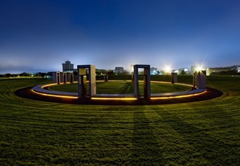 The Bonfire Memorial was dedicated in 2004 on the exact location of the fallen 1999 Bonfire. To learn more about the memorial, visit bonfire.tamu.edu/memorial. Photo by Patrick Danielczyk '03/The Association of Former Students